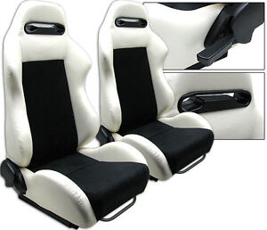 1 Pair White Pvc Leather Black Suede Racing Seats Fits Ford All Mustang