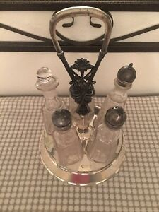 Wm Rogers Sons Victorian Silver Plate Cruet Condiment Set Caddy Etched Glass