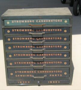 Stromberg Carburetor Cabinet With Lots Of Stromberg Nos Parts