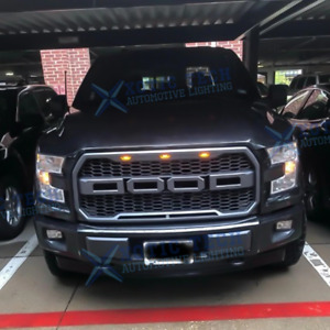 Front Grill Mesh Grille Bumper Hood For Ford F150 2009 14 Raptor Style With Led