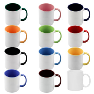 12pcs Sublimation 11oz Coffee Mugs Blanks two Tone Color 8 Color To Choose