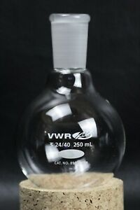 Vwr Scientific Glass 250ml Round Bottom Boiling Flask 24 40 Joint 89000 344