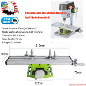 Milling Machine Compound Work Table Working Cross Slide Bench Drill Vise Lathe