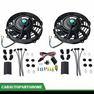 2x 7 Universal Electric Radiator Cooling Fan thermostat Relay Install Black Kit