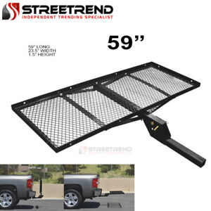 59 Black Steel Foldable Trailer Tow Hitch Cargo Carrier Tray For 2 Receiver Se