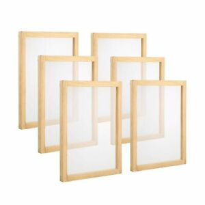 Pllieay 6 Pieces Wood Silk Screen Printing Frames 10 X 14inch With 110 White