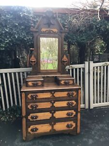 Antique Eastlake Victorian Wooden Dresser With Mirror Mid 1880 S Refinished
