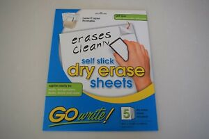 Go Write Self Stick Dry Erase Sheets 8 5 X 11 Pack Of 5 Sheets New