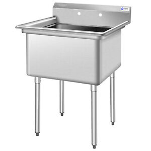 Costway Nsf Stainless Steel Utility Sink 30 Single Bowl Commercial Kitchen Sink
