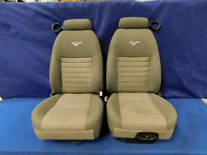 99 00 01 02 03 04 Ford Mustang Coupe Parchment Tan Cloth Front Seats Clean P56