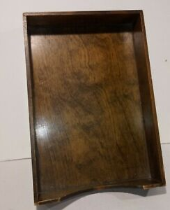 Vintage Dovetail Walnut File Desk Tray In Out Tray letter Box