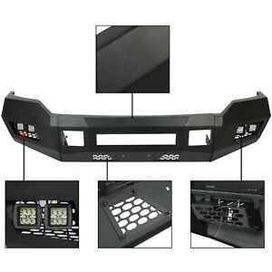 For 2011 2016 Black Front Bumper W Leds 2 4wd Ford F250 F350 Heavy Duty Steel