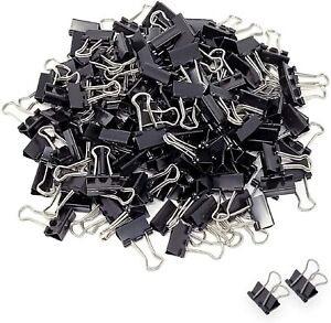 Mini Small Binder Clips 144 Pack Black Coating Paper Clamps Paper Clips