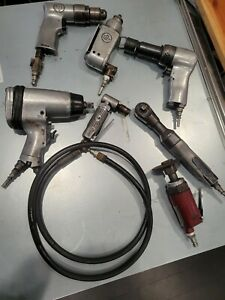 7pc Cp Air Pneumatic Tool Lot Impact Wrench Drill Hammer Ratchet Grinder More