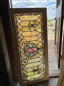 Sg3703 Antique Stained Glass Transom Window 23 X 51 5 Vivid