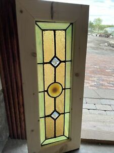 Sg 3713 Antique Stained Glass Transom Window Jewels And Rondell 11 75 X 30
