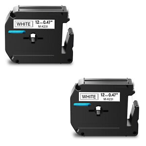 2pk M231 M k231 Black On White Label Tape For Brother P touch Pt 65vp 12mm 1 2