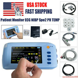 Handheld 5 Touch Screen Vital Signs Icu Patient Monitor Ecg Nibp Spo2 Pr Tmep