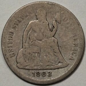 1863 s Seated Liberty Dime Vg double Die Reverse Cherry Picker Special