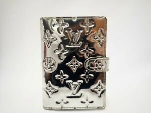 Louis Vuitton Miroir Agenda Pm Day Planner Diary R20963 Silver Patent Leather