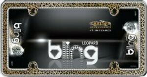 Leopard Bling Chrome License Plate Frame Free Screw Caps With This Frame