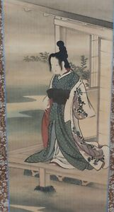 Vintage Japanese Hanging Scroll Art Painting Hean Beauty Woman