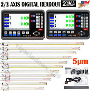 2 3axis Lcd Dro Digital Readout Ttl Linear Glass Scale Edm Lathe Mill Machine Us