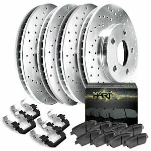 For 1998 2000 Kia Sephia Spectra Front Rear Drilled Brake Rotors Ceramic Pads