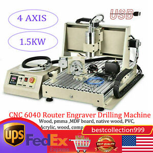 Usb 4 Axis 1 5kw Cnc 6040 Router Engraver Drilling Machine Usb Water cooling Vfd