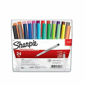 Sharpie 75847 Permanent Markers Ultra Fine Point Assorted Colors 24 count