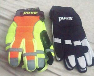 2 Pairs Pugs Gloves all Trades Work Gloves Xl L Safety Reflective Gloves Lot