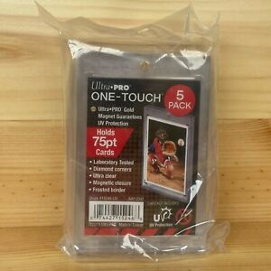 5 Pack Of Ultra Pro One Touch Magnetic Trading Card Holder 75pt Mag Case