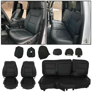 For 19 21 Chevy Silverado 1500 2500 3500 Crew Cab Front Rear Set Seat Cover Wt