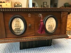 Antique Ornate Coin And Valuables Walnut Security Lockup Chest With Scrimshaw