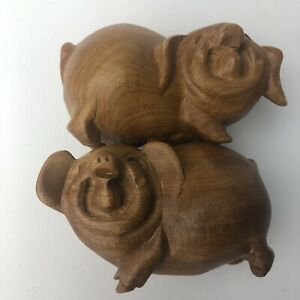 Chinese Hand Carved Fruit Wood Smiling Happy Pigs Figurines Set Male Female