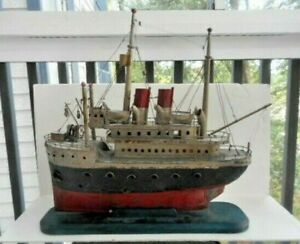 Early 20th C Hand Made Folk Art Ship Model Pennsylvania In Original Paint