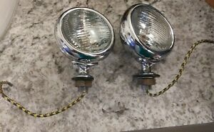 1932 Ford V8 Headlamp Bar Fog Light Pair Flathead Henry 32 Duece Nice