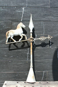 Antique Trotted Horse Weathervane Architectural Lightning Rod Heart Shaped End