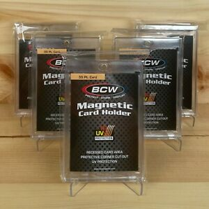 5 X Bcw 55pt Magnetic Card Holder With Uv Protection