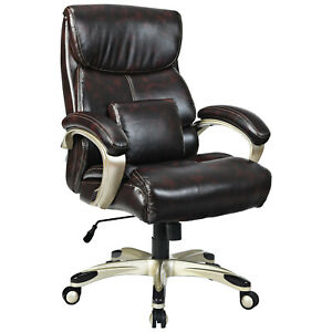 Costway 400lbs Big Tall High Back Adjustable Swivel Leather Office Chair Brown