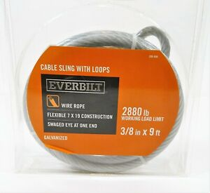 Everbilt 3 8 X 9 Ft Galvanized Cable Sling With Loops New In Package