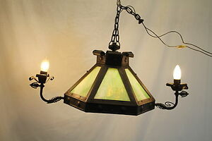 Antique Arts Craft Fixture Chandelier With Green Slag Glass Shades C 1930 S