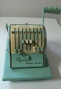 Vintage Paymaster Series 8000 Check Writer With Key And Cover Tested works