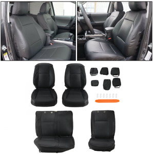Front Amp Rear Full Kit Leather Seat Covers Set For 2016 Toyota Tacoma Double Cab Fits Toyota