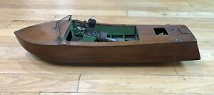 Antique Wood Hull Tether Boat Gas Engine