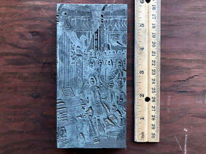 Antique Metal On Wood Printers Block Classical Music Small Orchestra Symphony