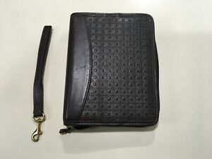 Compact Franklin Covey Brown Nappa Leather 1 1 4 Rings Zippered Planner Binder