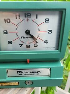 Very Clean Acroprint 150ar3 Heavy Duty Automatic Time Clock Recorder No Key