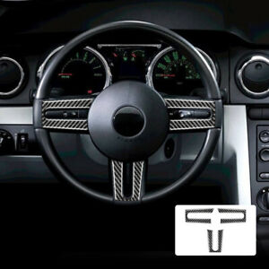 Steering Wheel Accents Sticker Carbon Fiber For Ford Mustang 2005 2009