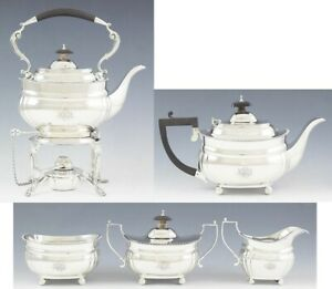 Antique 1928 Tiffany Co Sterling Silver 5pc Tea Coffee Kettle On Stand Set